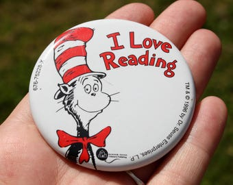 90's, Cat in the Hat, Dr. Seuss, Pin, Button, Brooch, Vintage, Red, White, Reading, Bookworm, Hat Pin, Teacher, I Love Reading, Dr.Seuss