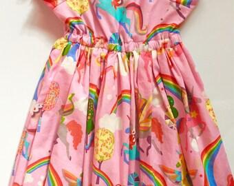 Unicorn dress, unicorn dresses, pink unicorn dress, rainbow dress, unicorn dresses, girls unicorn dress, baby unicorn dress, size 0-9/10
