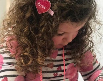 Valentine Hair Clips, valentines heart hair clips, Valentines Day hair clips, pink hair clips, purple hair clips, conversation hearts, love