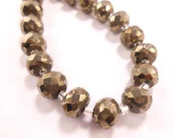 One Strand Natural Pyrite Faceted Roundelles - Rondelles Beads 7mm-8mm 6 Inches GG2521