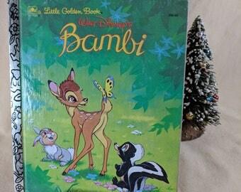 Golden Books ~ Bambi ~ Walt Disney ~ a Little Golden Book ~ Thumper & Flower ~ Children's Book ~ Toddler Book ~ Seths Vintage Emporium
