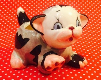 Atlas Anthropomorphic Sitting Calico Kitten Planter made in Japan circa 1950s