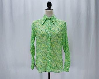 Vintage 60s 70s floral gauze mod  button down shirt // Size XS / S