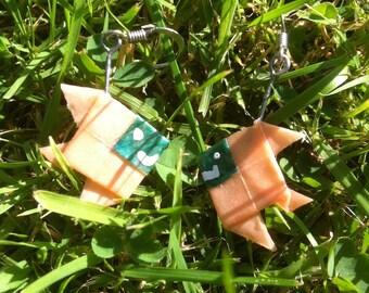 Origami fish green beige earrings