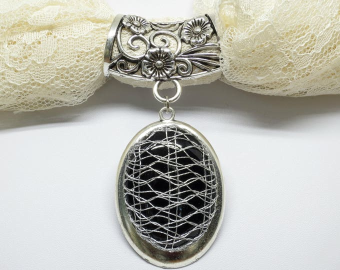 Featured listing image: Scarf Accent Ring With Bobbin Lace Pendant: Silver Metallic