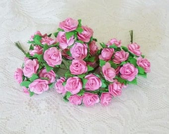 Pink rose 50 flower paper 20 mm.with wire stem Flower paper Handmade