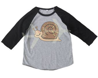 Snail shirt toddler small animal shirt Kids shirts -3/4 sleeve-Children t shirt -Raglan shirt- Baseball tshirt -Kids tshirts