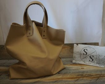 Soft Leather Shopping Tote Bag ~ Market / Beach Tote ~ Everyday Bag