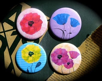 Set of 4 magnets 56 mms 'Flowers'