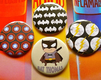 Customizable set of 4 magnets 56 mms 'Superhero'