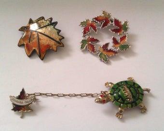 3 vintage maple leaf brooches