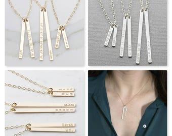 2pcs Coordinates+Name Vertical Tag Necklace, Gold Tag Necklace,14k Gold Fill, Silver, Rose Gold Fill, Bridesmaid Gift (OL V 209)
