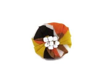 bague tissu, bague wax, bague orange, bague marron, bague réglable, bague ronde, bague femme, wax, bijoux ethniques, bague ethnique