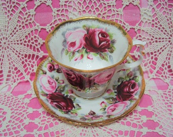 Beautiful Vintage Royal Albert Summer Bounty Series RUBY Cup & Saucer.