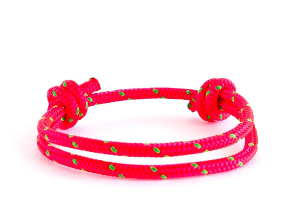 simple bracelet, rope bracelet, adjustable bracelet in bright pink