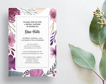 Watercolor Floral Shower Invites / Purple Floral / Calligraphy / Semi-Custom Party Bridal Shower Invites / Print-at-Home Invitations