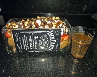 Jackdaniels Whiskey Gifts / Bottle Planter Or Vase / Jack Daniels Gift Boyfriend Birthday / Glass Bowl / Serving Dish / Jack Daniels Decor