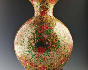 """12"""" Oriental Flowers Hand Painted Wooden Vase"""