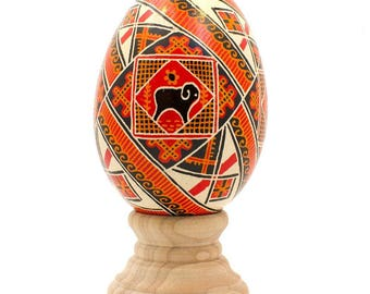 "3.25"" Rams Goose Size Real Blown Out Ukrainian Easter Egg"