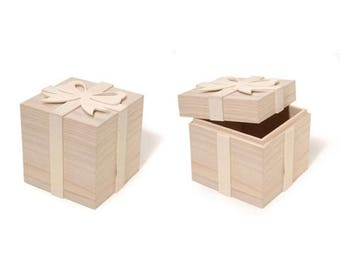 "4"" Blank Unfinished Wooden Gift Box with Bow"