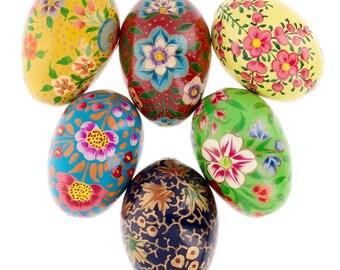 "3"" Set of 6 Flowers Ukrainian Wooden Easter Eggs Pysanky"