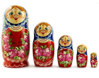5 pcs/ 7'' Nadezhda Russian Nesting Dolls