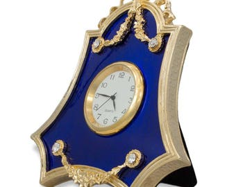 4'' Faberge Royal Blue Guilloche Enamel Russian Antique Style Clock Frame