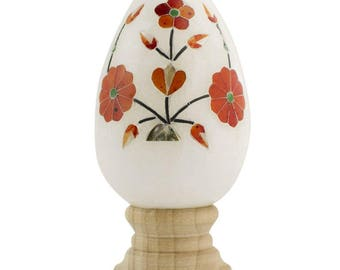 """3"""" Hand Carved and Inlaid Flowers Gemstone Easter Egg"""