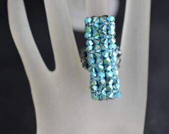 Swarovski crystal ring long - turquoise ab2x