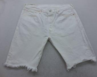Mens White Wash Denim Levi's 501 Cut Off Bermuda Jean Shorts Size 38 W