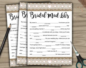 Bridal Shower Mad Libs - Game - Cards - PRINTABLE - INSTANT DOWNLOAD - Burlap & Lace - Rustic Bridal Shower - Bachelorette Party - L46