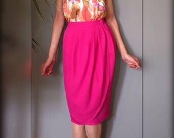 Skirt Gerard Pasquier french vintage portfolio draped waist high noon (S/36) hot pink