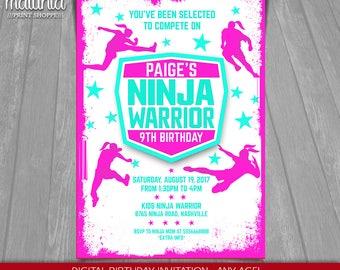 American Girl Ninja Warrior Invitation - Ninja Warrior Printed or Printable Invitation - American Ninja Warrior Invite Party (NWIN04)