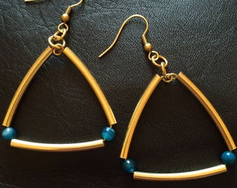 dangle earrings in Golden brass Machanou jewelry for her handmade pierced earrings