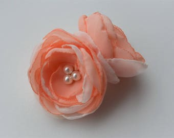 Peach flower hair clip or brooch many colours available bridesmaid hairpiece prom hair accessories hair flowers festival wedding corsage