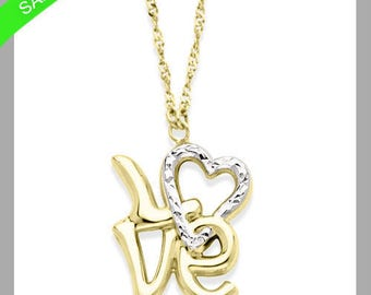 Two Tone Love Necklace In 14k Gold On Sale