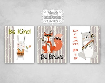 SALE Printable Tribal Woodland Animals Nursery Wall Art Decor Be Kind Brave Dream Big Bear Fox Rabbit Baby ~ DIY Instant Download ~ 3 8x10 P