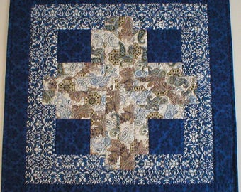 "Unique Handmade Quilted Table Topper, Log Cabin Design, Blue, White, Beige, 22-3/4"" Square (Topper2146)"