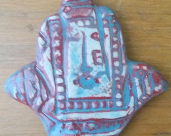 Hamsa Red White and Blue Face Pendant