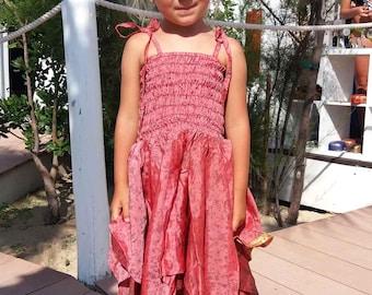 jungly silk dress pink little girl