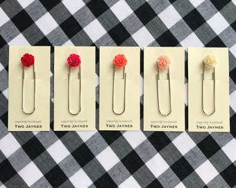 Spring Flower Bookmark - Rose Cabochon Jumbo Paperclip assorted colors