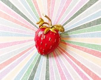 Sweet Strawberry vintage kitschy brooch