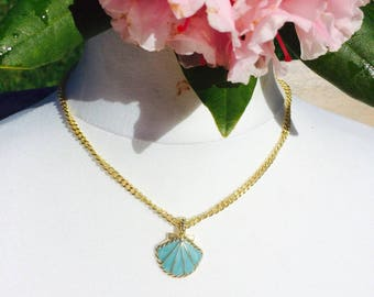 Necklace Eva and her shell enamel Turquoise - summer and Bohemian