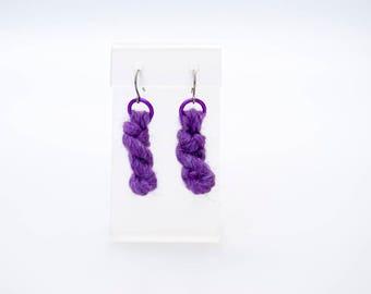 Purple Badness Yarn earrings