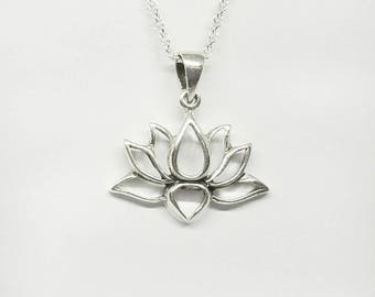 Lotus pendant etsy lotus necklacesilver blooming lotus pendantwater lily necklacelotus flower jewelry mozeypictures Image collections