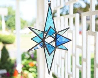 Stained glass suncatcher, medium glass Moravian star, stained glass Christmas star, stained glass star, 3-D glass star, beachy blue glass