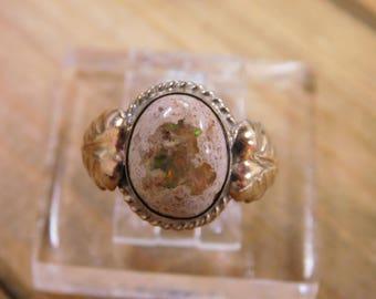 Sterling Silver Boulder Opal Ring Size 6.5