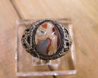 Sterling Silver Agate Ring Size 8.25