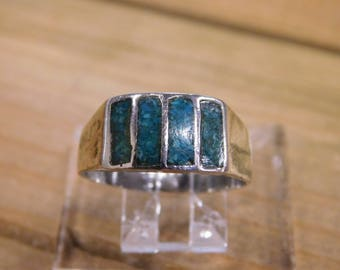 Sterling Silver Turquoise Chip Inlay Ring Size 10.5
