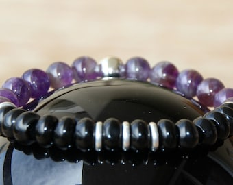 Bracelet agate and Amethyst